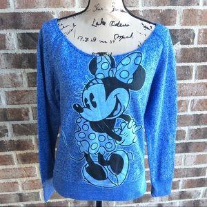 Disney Parks Minnie Mouse Scoop Neck Sweatshirt M
